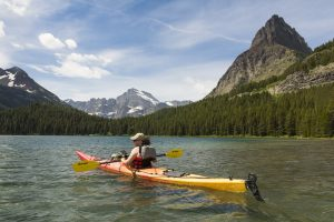 kayaking in many glacier national park