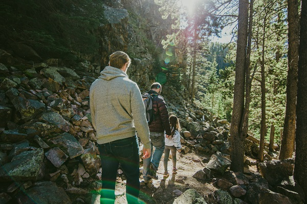 Three hikers in the Lewis and Clark National Forest