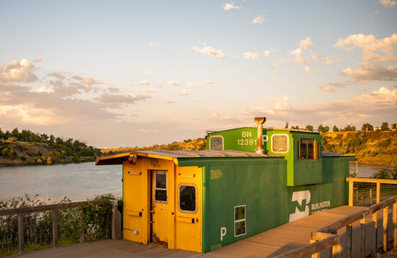 Box Car and Caboose by Burlington Northern